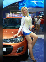 """photo from the publication """"MMAS-12. WHA. Julia."""", author Эдуард@fotovzglyad, Tags: [exhibitions, pantyhose (tights) skin color, Moscow International Motor Show, events of 2012, car, blonde, Julia Korf, dress very short (mini-dress), shoes with an open toe, dress fitting, tight, slinky, events, girls AvtoVAZ, pantyhose (tights) sheer, transparent, car show]"""