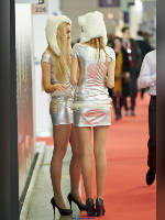 """photo from the publication """"Aqua-Therm Moscow - 13. Kaleidoscope part 1"""", author Эдуард@fotovzglyad, Tags: [exhibitions, , pantyhose (tights) skin color, events of 2013, pantyhose (tights) with glitter, dress, long legs, dress very short (mini-dress), high heels, events, pantyhose (tights) sheer, transparent, silver dress]"""