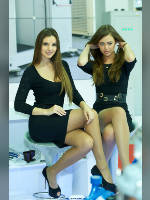 """photo from the publication """"Aqua-Therm Moscow - 13. Kaleidoscope part 5"""", author Эдуард@fotovzglyad, Tags: [exhibitions, , pantyhose (tights) skin color, events of 2013, sitting legs crossed, shoes with an open toe, events, Mila Streltsova, Polina Andreeva]"""