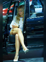 """photo from the publication """"MMAS-12. WHA. Anya."""", author Эдуард@fotovzglyad, Tags: [exhibitions, Anna (Anya) Kasyanova, short dress, heels, dress white, Moscow International Motor Show, shoes white, events of 2012, car, blonde, sitting legs crossed, events, girls AvtoVAZ, car show]"""