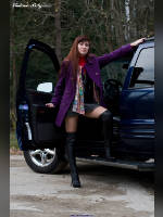 """photo from the publication """"Anastasia. Autumn and blue machine."""", author Вовчик, Tags: [pantyhose (tights) skin color, heels, black boots, Anastasia (Nastya) V., car, boots above the knee (jackboot), Staged photography, stiletto heels]"""