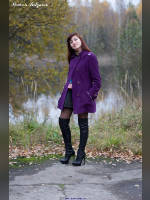 """photo from the publication """"Anastasia. Autumn and blue machine."""", author Вовчик, Tags: [black boots, Anastasia (Nastya) V., stocking tops visible, stockings black, boots above the knee (jackboot), Staged photography, stiletto heels]"""