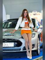 """photo from the publication """"MIAS-14. Alena and Ira."""", author Эдуард@fotovzglyad, Tags: [exhibitions, events of 2014, pantyhose (tights) skin color, Moscow International Motor Show, shoes white, car, brown hair, the skirt is very short, white panties, yellow skirt, high heels, events, pantyhose (tights) sheer, transparent, stiletto heels, Alena Rus, sitting on the hood, car show]"""