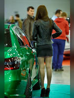 """photo from the publication """"Tuning Show 2013. Part 4"""", author Эдуард@fotovzglyad, Tags: [exhibitions, pantyhose (tights) skin color, Moscow Tuning Show, car, events of 2013, black dress, the skirt is very short, black skirt, dress very short (mini-dress), dress fitting, tight, slinky, events, car show]"""