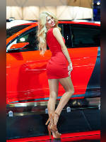 """photo from the publication """"MIAS-14. Elena-2."""", author Эдуард@fotovzglyad, Tags: [exhibitions, events of 2014, pantyhose (tights) skin color, Moscow International Motor Show, red dress, car, blonde, lifting leg, dress very short (mini-dress), events, pantyhose (tights) sheer, transparent, Elena (Lena) Vassilieva, car show]"""