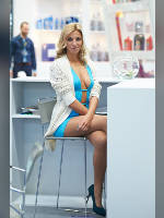 """photo from the publication """"INTERAUTO 13. Marina."""", author Эдуард@fotovzglyad, Tags: [exhibitions, pantyhose (tights) skin color, short dress, shoes black, cleavage, dress light-blue, Interauto and MIMS, blonde, events of 2013, pantyhose (tights) with glitter, long legs, dress fitting, tight, slinky, events, polished nails, manicure, white sweater, pantyhose (tights) sheer, transparent, pumps - suede/satin/velvet, stiletto heels, car show]"""
