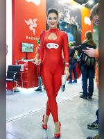 """photo from the publication """"IgroMir-17. Anfisa and Ilona."""", author Эдуард@fotovzglyad, Tags: [exhibitions, heels, IgroMir, shoes red, standing cross-legged, red jumpsuit, camel toe, events, Anfisa Mityurich, events of 2017, ]"""