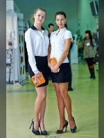 """photo from the publication """"OSM- 14. Vera and Anna."""", author Эдуард@fotovzglyad, Tags: [exhibitions, events of 2014, pantyhose (tights) skin color, shoes black, blouse white, black skirt, short skirt (miniskirt), Veronica (Vera) Boyprav, high heels, Construction Materials, events, pantyhose (tights) sheer, transparent]"""