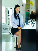 """photo from the publication """"2014 PhotoForum-14. Olga."""", author Эдуард@fotovzglyad, Tags: [exhibitions, events of 2014, pantyhose (tights) skin color, heels, blouse white, brunette, PhotoForum, black skirt, Olga (Olya) Klinitskaya, sitting legs crossed, long legs, shoes with an open toe, pantyhose (tights) opaque, events, lipstick]"""