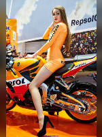 """photo from the publication """"Moto Park 15. REPSOL."""", author Эдуард@fotovzglyad, Tags: [exhibitions, motorcycle (bike), pantyhose (tights) skin color, shoes black, Motor Park, yellow dress, dress very short (mini-dress), high heels, dress fitting, tight, slinky, events, pantyhose (tights) sheer, transparent, astride a motorcycle, events of 2015, car show]"""