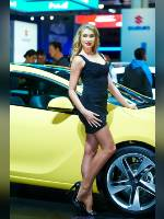 """photo from the publication """"MIAS-14. Julia-3"""", author Эдуард@fotovzglyad, Tags: [exhibitions, events of 2014, pantyhose (tights) skin color, shoes black, Moscow International Motor Show, car, blonde, black dress, lifting leg, dress very short (mini-dress), high heels, events, pantyhose (tights) sheer, transparent, stiletto heels, Julia Tymoshenko, high arched feet, car show]"""