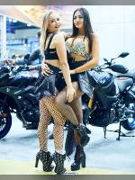 """photo from the publication """"Motovesna-2019. Kaleidoscope part 8"""", author Эдуард@fotovzglyad, Tags: [exhibitions, motorcycle (bike), pantyhose (tights) fishnet black, shoes black, black shorts, blonde, tight shorts, brunette, platform heels, the shorts are very short, lifting leg, events, mesh pantyhose (tights) black large, Motovesna, car show, , events of 2019]"""