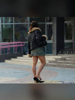 """photo from the publication """"Minsk cuts"""", author Intrusion, Tags: [pantyhose (tights) skin color, Belarus, the skirt is very short, jean skirt, outdoor, outdoor, pantyhose (tights) sheer, transparent, heel popping/dangling, taking off shoes]"""